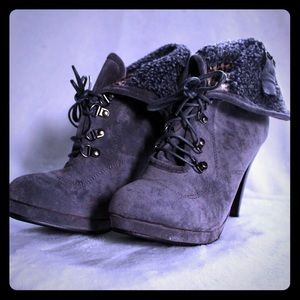 Shoes - NWOT Grey Heeled Ankle Boots